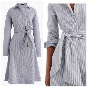 J Crew Striped Waist Tie Shirt Dress